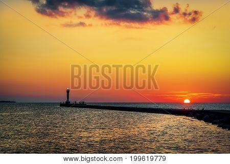 Sunrise on Lake Michigan at Manitowoc Wisconsin.