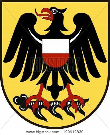 Coat of arms of Rottweil is a district in the middle of Baden-Württemberg Germany. Vector illustration from the