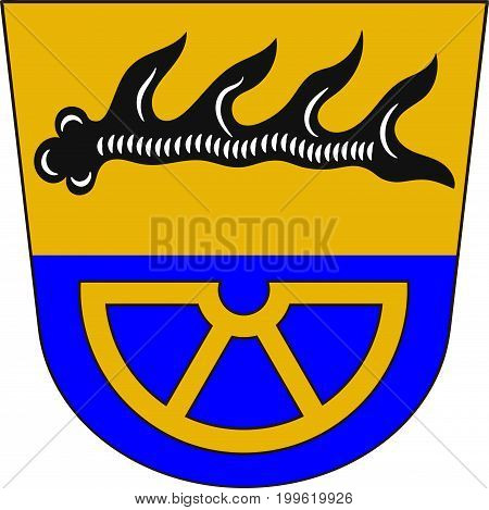 Coat of arms of Tuttlingen is a district in the south of Baden-Wurttemberg Germany. Vector illustration from the
