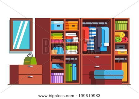 Wardrobe dressing room interior design with big wooden closet furniture full of boxes, bags, clothes, dresses and shoes. Drawers, shelves. Flat style vector illustration isolated on white background.