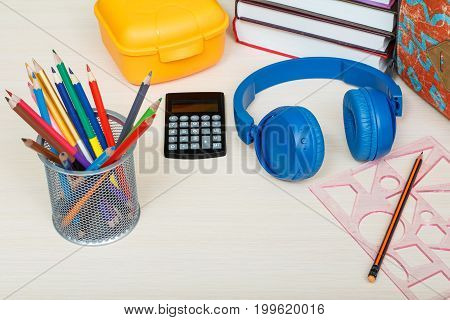 School Supplies. School Backpack, Books, Sandwich Box, Stand For Pencils With Color Pencils, Stapler