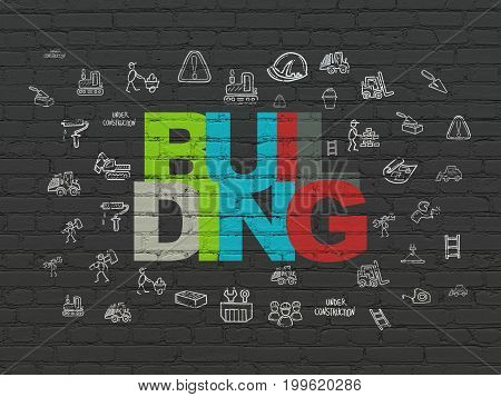Construction concept: Painted multicolor text Building on Black Brick wall background with  Hand Drawn Construction Icons