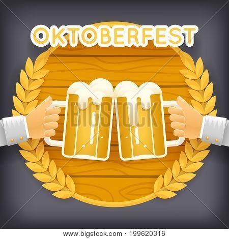 Hands Holds Mug of Beer with Foam Autumn Oktoberfest Celebration Success Prosperity Symbol Wood Icon Background Greeting Card Flat Design Vector Illustration