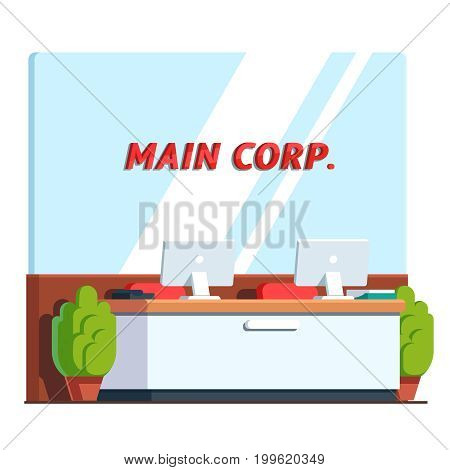 Modern minimalist reception room counter interior design. Desktop pc on front desk. Corporation office hall decoration and furniture. Flat style vector illustration isolated on white background.
