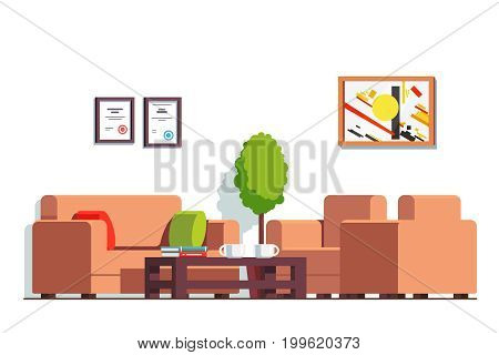 Office or clinic waiting room interior design with coffee table, coach and arm chairs. Business company hall decoration and furniture. Flat style vector illustration isolated on white background.