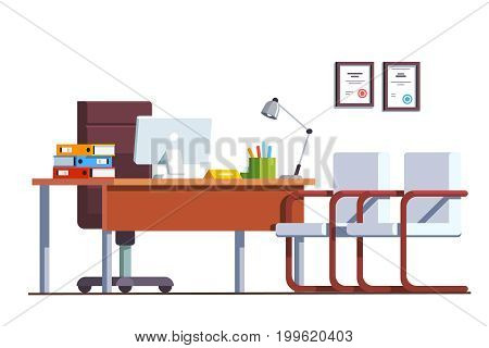 Modern minimalist boss office room interior design with computers on desktop. Director work place decoration and furniture. Flat style vector illustration isolated on white background.