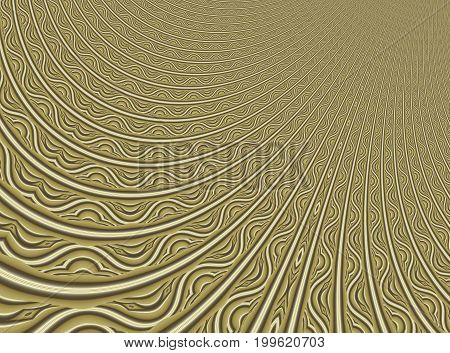 Fine gold modern abstract fractal art. Background illustration with a distorted detailed pattern resembling a filigree. Creative graphic template for various projects and designs, book covers, layouts