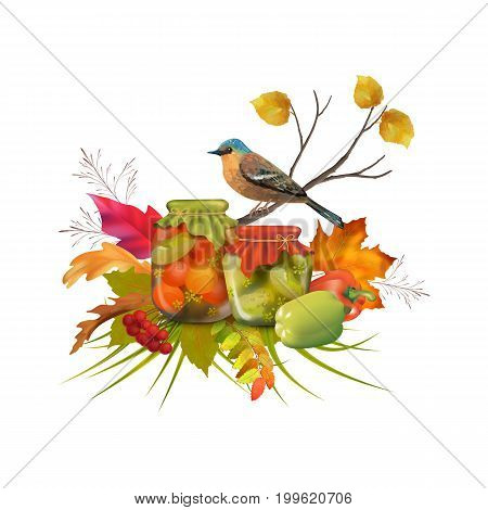 Autumn vector Thanksgiving composition with homemade preserves, tree branch, bird, fall leaves, pepper