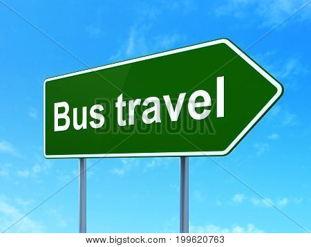 Tourism concept: Bus Travel on green road highway sign, clear blue sky background, 3D rendering