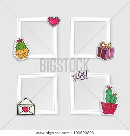 Realistic photo frames for image and photo on white background. Love, romantic and friendship. Abstract.