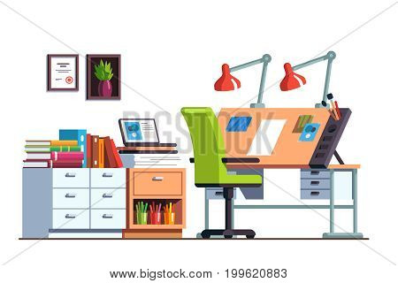 Interior design architect or designer studio with adjustable drawing desk, chair, desk drawers. Workshop or engineer office room furniture. Flat style vector illustration isolated on white background.