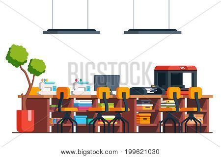 Diy workshop studio room interior. Tailor shop sewing machine, wooden table, chairs, fabric and 3D printer with materials. Flat style vector illustration isolated on white background.