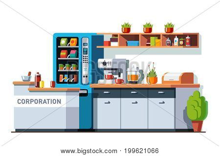 Corporate office dining room, kitchen interior design with table, cupboard, vending machine and coffee maker. Business break or lunch time. Flat style vector illustration isolated on white background.