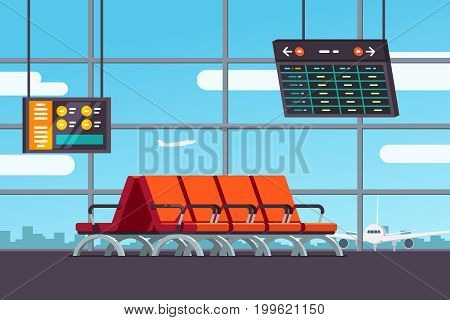 Airport waiting room, departure lounge with chairs, information panels with departures, arrivals schedule. Terminal hall with window airfield view on airplanes. Flat style vector isolated illustration