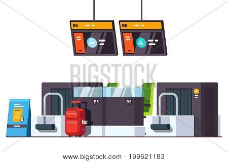 Modern international airport check in desk counter with weighting luggage belt and security check point metal detector and x-ray scanner. Flat style vector illustration isolated on white background.
