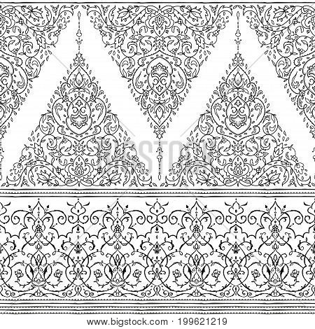 Islamic floral pattern in Victorian style. Arabic geometric ornament round Eastern style. Card for cafe, restaurant, shop, print, banner, wedding invitation.
