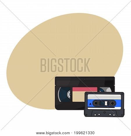 Video and audio cassettes, VHS and audiotape from 90s, sketch vector illustration with space for text. Front view of video and audio tape, cassette with empty label sticker from 90s