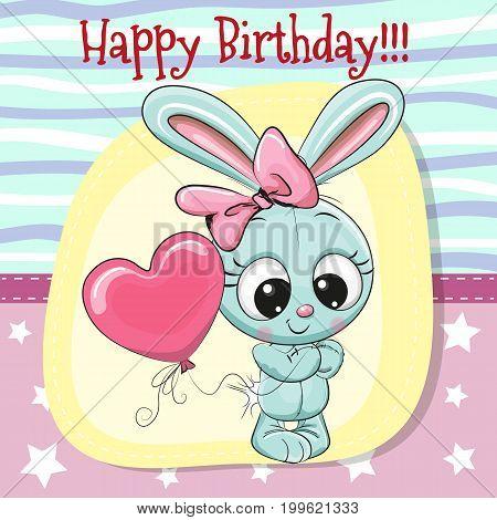 Greeting card Cute Cartoon Rabbit girl with balloon