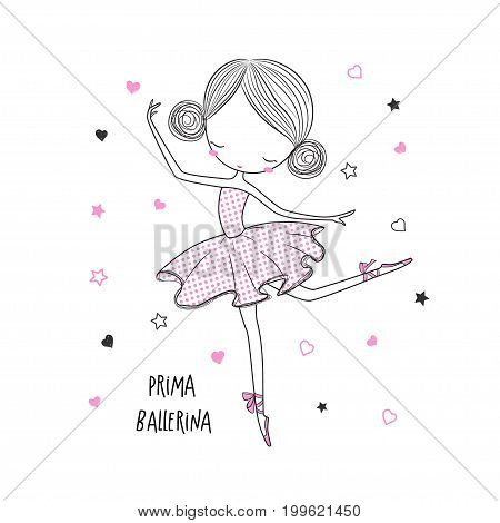 Prima ballerina. Surface design for kids . Vector graphic for kid's fashion clothing. Use for print design surface design fashion kids wear