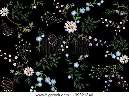 Embroidery trend floral seamless pattern small branches herb leaf with little blue violet flower daisy chamomile. Ornate traditional folk fashion patch design neckline blossom background vector illustration art
