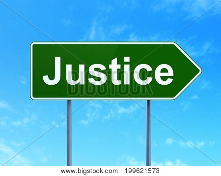 Law concept: Justice on green road highway sign, clear blue sky background, 3D rendering
