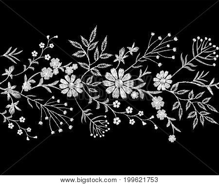 Embroidery white lace border small branches herb leaf with little blue violet flower daisy chamomile. Ornate traditional folk fashion patch design background vector illustration art