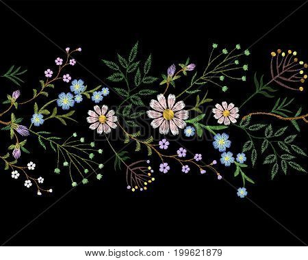 Embroidery trend floral border small branches herb leaf with little blue violet flower daisy chamomile. Ornate traditional folk fashion patch design neckline blossom background vector illustration art
