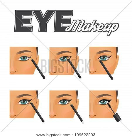 How to make perfect winged vintage retro eyeliner make-up tutorial chart. Eye pencil countour technique and mascara coverage, pretty woman face model.