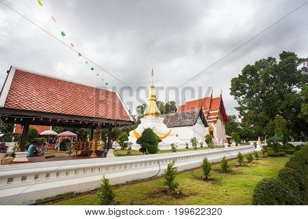 Khon Kaen, THAILAND - June 6,2016 : Phra That KhamKaen at Wat Chetiya Phumin, Khon Kaen people respect the people on June 6, 2016 in Khonkaen, THAILAND.