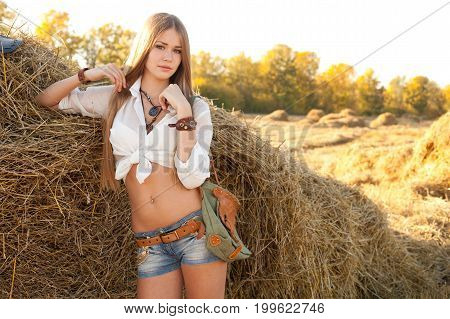 Portrait Of Woman At The Field.