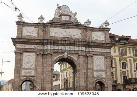 Innsbruck, Austria - February 9, 2017: Triumphal Arch (Triumphpforte). The Triumphpforte is one of the most famous landmarks in Innsbruck. It was built in 1765.