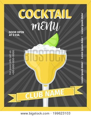 Cocktail menu black vintage poster template, vector illustration