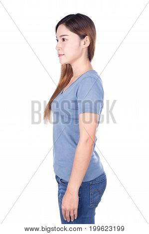 Woman In Blue T-shirt Isolated On White Background (side View)
