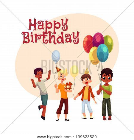 Happy birthday vector greeting card, poster, banner design with Black and Caucasian boys, kids with balloons, birthday hats and gifts. Boys, kids having fun at birthday party, holding balloons