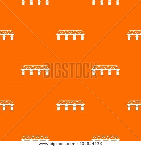 Bridge pattern repeat seamless in orange color for any design. Vector geometric illustration