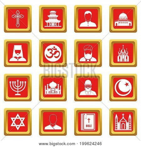 Religious symbol icons set in red color isolated vector illustration for web and any design