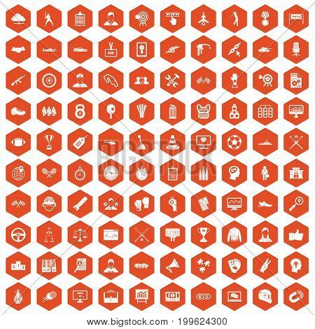 100 victory icons set in orange hexagon isolated vector illustration