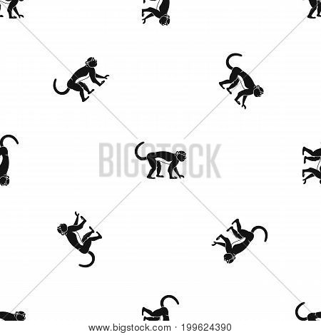 Macaque pattern repeat seamless in black color for any design. Vector geometric illustration