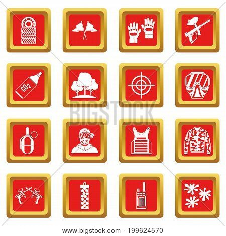 Paintball icons set in red color isolated vector illustration for web and any design