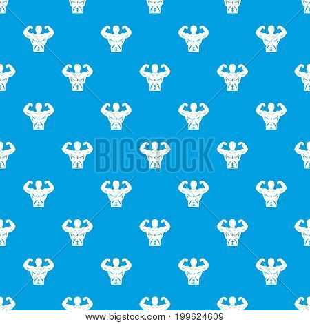 Athletic man torso pattern repeat seamless in blue color for any design. Vector geometric illustration