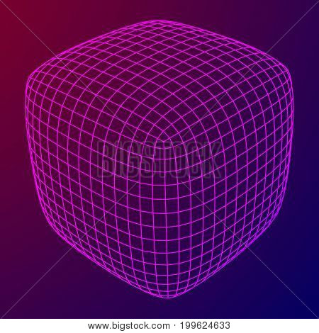 Wireframe Mesh Rounded Box. Connection Structure. Digital Data Visualization Concept. Vector Illustration.