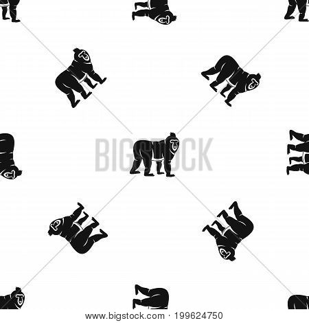 Mandrill monkey pattern repeat seamless in black color for any design. Vector geometric illustration