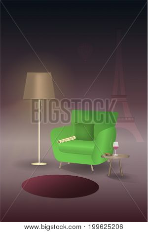 Living room. Lamp illuminate armchair with newspaper. Next to it is a table with cigar and red wine.