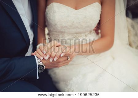 Loving Bride And Groom Tenderly Hold Hands