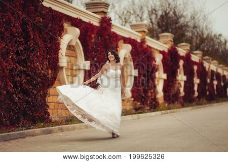 Bride On A Walk Near A Wall With Red Leaves