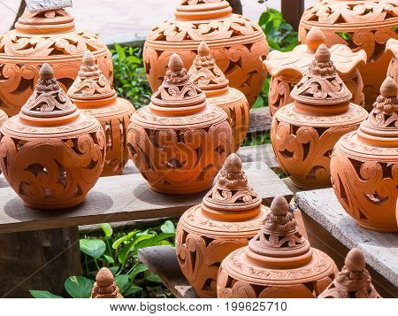 Handmade pottery shop.It is a beautiful container.