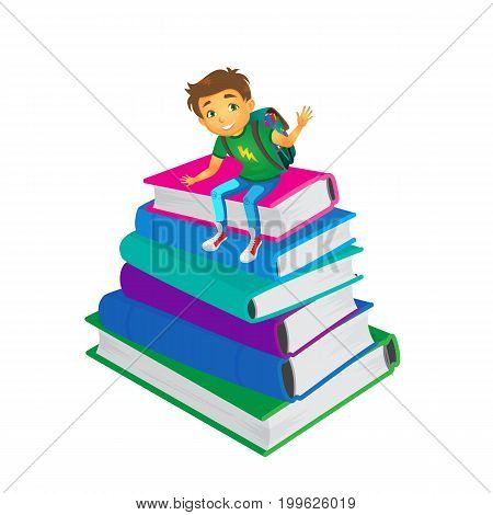 vector cartoon small boy, schoolboy wearing schoolbag says hello sitting at big pile of school books. Flat isolated illustration on a white background. Back to school concept