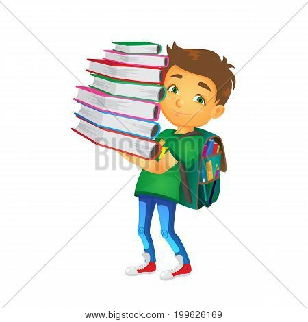 vector cartoon small boy, schoolboy wearing schoolbag holds big pile of school books smiling. Flat isolated illustration on a white background. Back to school concept