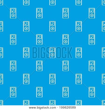 Mini MP3 portable player pattern repeat seamless in blue color for any design. Vector geometric illustration