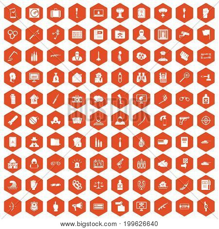100 violation icons set in orange hexagon isolated vector illustration